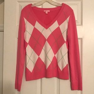 Lilly Pulitzer pink argyle sweater size small